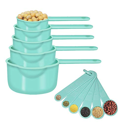 11 Pcs Measuring Cups and Spoons Set, Nesting Measuring Cup Set for Dry and Liquid Ingredient, Premium Plastic Kitchen Tool (sea green)