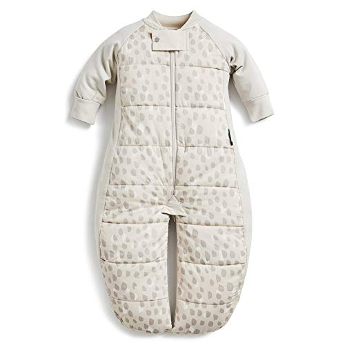 ergoPouch 3.5 TOG Sleep Suit Bag 100% Organic Cotton Filling with Cotton Sleeves and fold Over Mitts. 2 in 1 Wearable Blanket Sleeping Bag converts to Sleep Suit with Legs (Fawn, 2-4 Years)