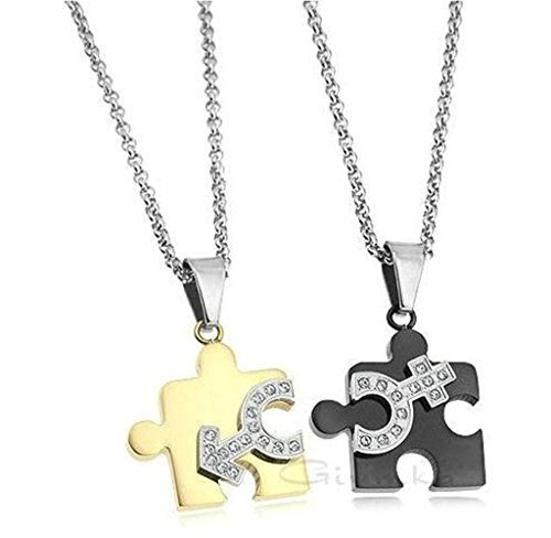 [Epinki Unisex Pendant, Stainless Steel Pairs Puzzle Necklace Black Gold] (Link Costume Terraria)
