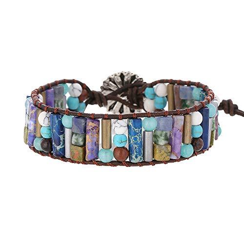 IUNIQUEEN Women Creative Handmade Leather Mixed Natural Stone Bead Adjustable Bracelet Jewelry
