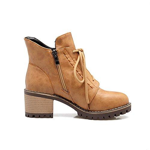 Square nbsp;Lining Yellow Urethane Womens Heels Boots SXC02533 nbsp; Bandage AdeeSu Velvet wEUqXEO