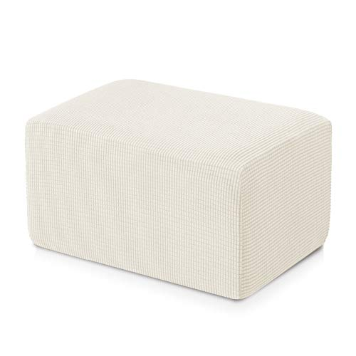 Subrtex Stretch Storage Ottoman Slipcover Spandex Elastic Rectangle Footstool Sofa Cover for Living Room (Oversize, White)