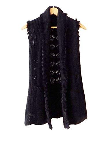 Faux Fur Trim Black Sweater - 9