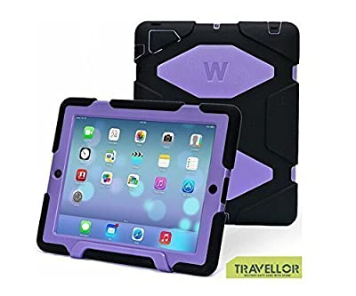 New Hot Item Ipad 2/3/4 Case Winpartner Travellor Silicone Plastic Dual Protective Back Cover Kid Proof Extreme Duty Case Standing Case for Ipad,ipad 4,ipad 3,ipad 2 Rainproof Sandproof Dirtproof Shockproof- Multiple Color Options (Black-Purple)