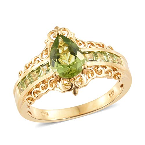925 Sterling Silver Vermeil Yellow Gold Plated Pear Peridot Fashion Ring For Women Size 10 Cttw 2.2