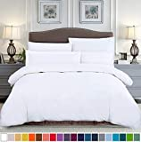 SUSYBAO 2 Pieces Duvet Cover Set 100% Natural Cotton Twin/Single Size 1 Duvet Cover 1 Pillow Sham Solid White Hotel Quality Ultra Soft Breathable Comfortable Extremely Durable Bedding with Zipper Ties