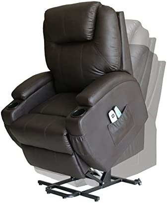 Cozylifeunion Lift Chair Massage Recliner Wall Hugger Electric Power Heated Vibrating Lounge w/ Wheels 2 Controls Coffee