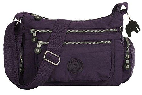 BHBS Fabric Branché Tissu Poche Zippée épaule Léger Bandoulière Sac Messager 29x24x12 cm (LxHxP) purple
