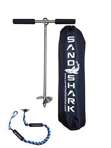"""SandShark 18"""" Sand Anchor, Tested & Proven to Hold Watercraft Secure, Auger to The Beach or Sandbar for Jet Ski, PWC, Pontoon, Kayak, Canoe (Stainless Steel) 18 Inch w/Padded Case (With 4-5.5"""" Bungee)"""