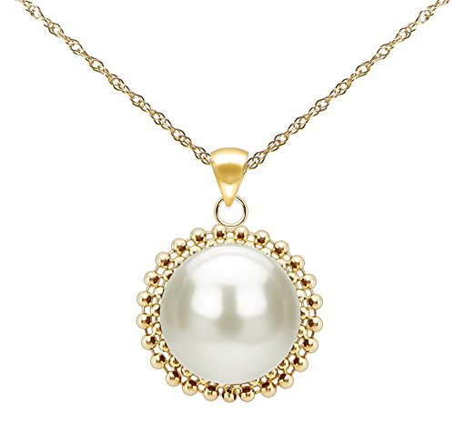 14k Yellow Gold 9-9.5mm White Freshwater Cultured Pearl Beaded Pendant Necklace, 18
