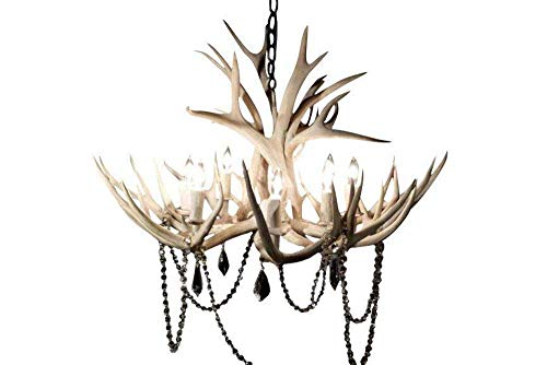 8 Light Mule Deer Antler Chandelier- Sun Bleached Finish