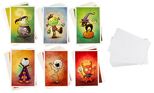 Set Halloween Stationery (Halloween Note Cards - 48-Pack Halloween Greeting Cards Bulk Box Set - Pumpkin and Cat, Frankenstein, Vampire, Skeleton, Devil, Witch's Brew Designs - Envelopes Included - 4 x 6 Inches)