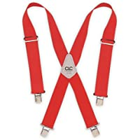 Custom LeatherCraft 110RED Heavy Duty Work Suspenders, Elastic Straps, One Size, Red