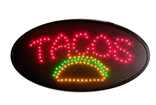 'Tacos' LED Sign for Mexican Restaurants, Business,