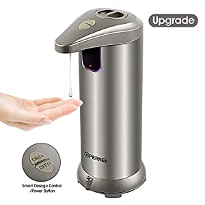 Soap Dispenser, OPERNEE Automatic Hands Free Fingerprint Resistant Stainless Steel Soap Dispenser, IR Infrared Motion Sensor Touchless Autosoap Dispenser for Kitchen Bathroom[Second Generation]