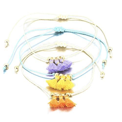 Braided Tassels - Tassel Anklet Set Waterproof String Anklet Infinity Heart Anklet Handmade Rope Ankle Bracelet Bead Surfer Beach Foot Jewelry for Women