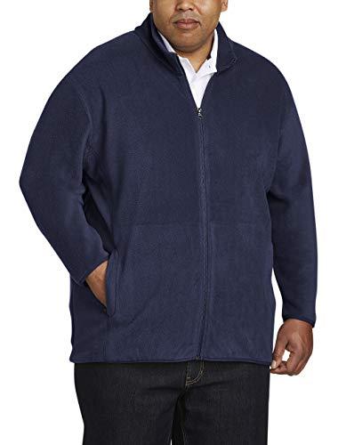 (Amazon Essentials Men's Big and Tall Full-Zip Polar Fleece Jacket fit by DXL, Navy, 2XLT)
