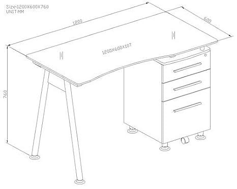 Scrivania Ufficio Misure : Sixbros. office scrivania ufficio porta pc vetro nero mbj 01b 70