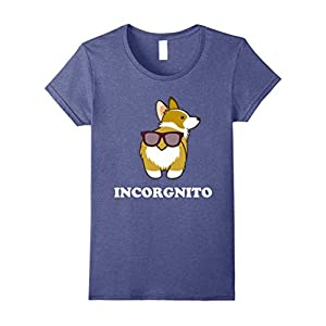 Womens Funny Gift For Dog Lovers Incorgnito Sunglasses Pun T-Shirt XL Heather Blue
