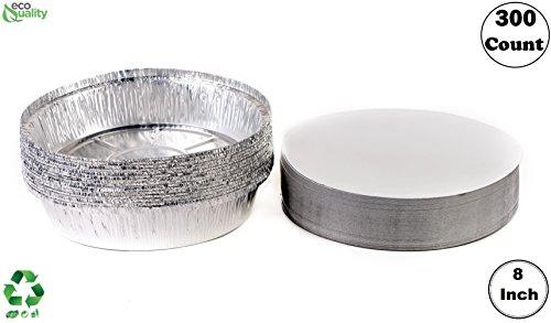 EcoQuality - Juego de 300 sartenes desechables de aluminio con tapa de tablero, 8 pulgadas, ideales para hornear, cocinar, catering, fiestas, restaurantes: ...