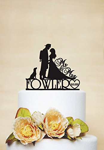 Custom Cake Topper with Surname, date and dog,Fireman wedding,Bride and Firefighter Acrylic Decoration,Accessories for Wedding Cakes,Unique Cake Toppers