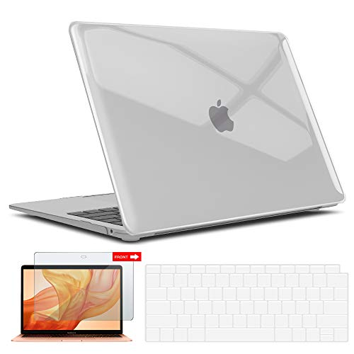 (iBenzer MacBook Air 13 Inch Case, Soft Touch Hard Case Shell Cover with Keyboard Cover Screen Protector for Apple MacBook Air 13 A1369 1466 NO Touch ID, Crystal Clear MMA13CYCL+2)