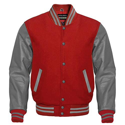 New Style Wool /& Genuine Cow Leather Sleeves Letterman Varsity Baseball Jacket
