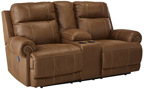 Ashley Furniture Signature Design - Austere Recliner Loveseat with Console - Pull Tab Manual Reclining - Contemporary - Brown