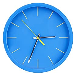 Egundo 12 Inches Wall Clock Non-Ticking Battery Operated Round Plastic No Numbers Modern Style Home Decoration Wall Art for Kitchen Office and Bedrooms (Ocean Blue)