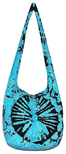 TIE DYE Crossbody Bohemian Shoulder Bag Hobo Purse Big 39 (Turquoise)