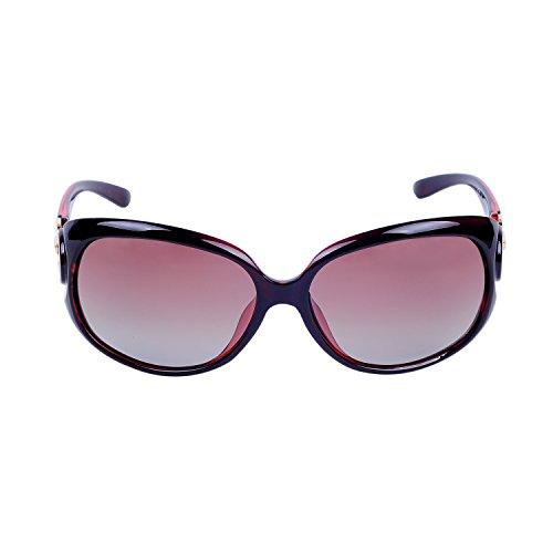 avec QIXU Lunettes Polarisées Lunettes de Femme Étui Verres UV400 Vintage Ovales soleil Marron Protection 100 pFISTq