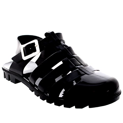Festival Beach Summer Sandals Jelly Beach Vacation 9 Strappy Buckle Womens Black YCqwEE