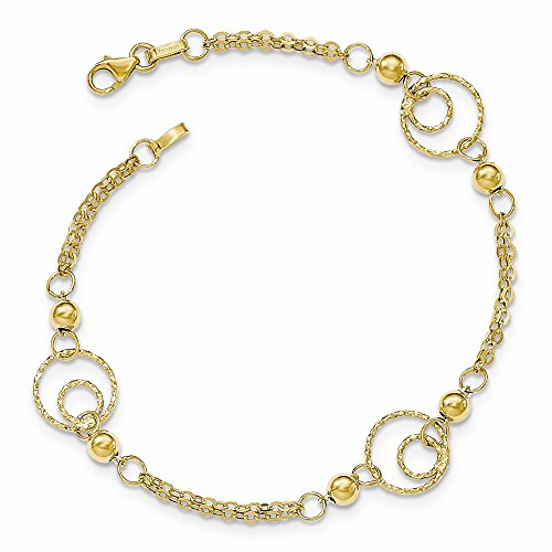 14K Yellow Gold Textured Circles Polished Beads Bracelet (Circle Gold Yellow Bracelet)