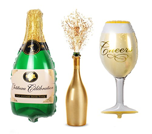 39 Inch Wine Glass and Champagne Large and Thickened Foil Balloons Air-filled / Helium Balloon for Party show holiday performance Wedding Baby Shower window dressing Birthday Anniversary Decoration