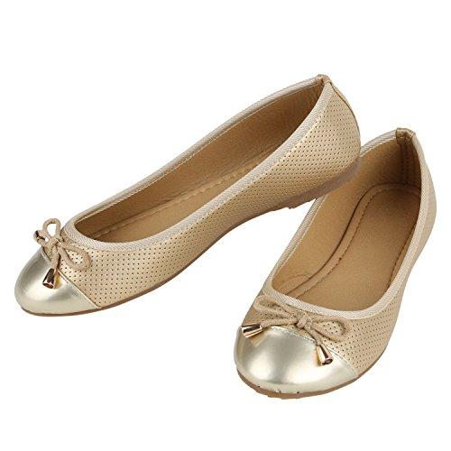 Klassische Damen Ballerinas Ballerina Schuhe Lack Leder-Optik Flats Metallic Slip Ons Schleifen Glitzer Slipper Übergrößen Flandell Gold Gold