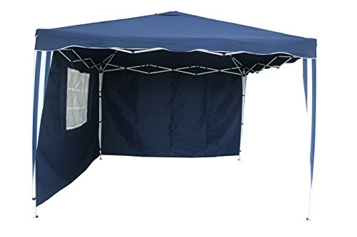 PREMIUM 10 X 10 ALUMINUM POP UP GAZEBO WITH 2 SIDE WALLS - NAVY BLUE - WEDDING, PARTY, TAILGATE, AWNING, CANOPY