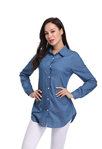 Argstar Women's Chambray Button Down Shirt Long Sleeve Jeans Top, Blue, X-Large (US 16-18) Button Up Shirt Jeans