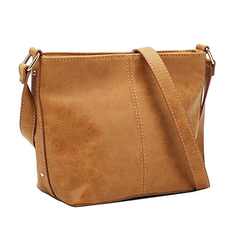 (Women Small Shoulder Bag Faux Leather Small Crossbody Satchel Purse Travel Shoulder Bag (Brown))