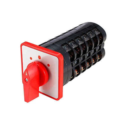 itch 3 Position Rotary Selector Cam Switch Panel Mount 24 Terminals Latching Ui 500V Ith 16A ()
