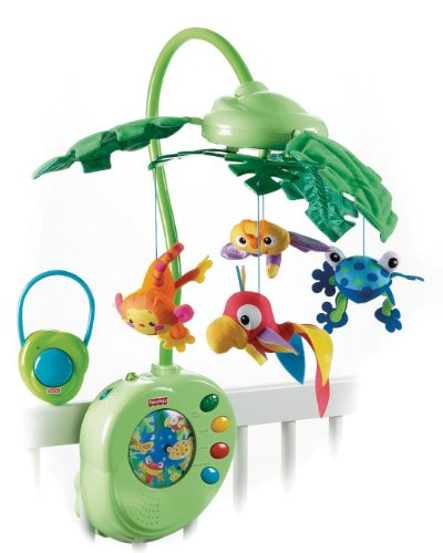 Fisher-Price Rainforest Peek-a-Boo Leaves Musical (Jungle Friends Mobile)
