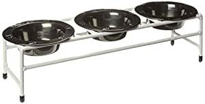 Platinum Pets White Triple Modern Diner Stand with 8-Ounce Stainless Steel Pet Bowls in Black Chrome