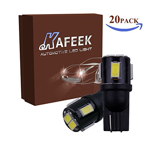 KAFEEK 20PCS T10 Wedge 194 168 2825 175 5630 6-EX Chipsets LED Bulbs,Xenon Withe by KAFEEK