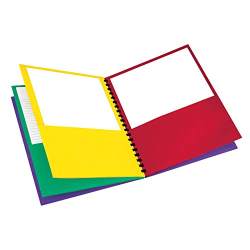 Oxford 8-Pocket Paper Folder, Letter Size, 200-Sheet Capacity, Multicolor, Red, Green, Yellow, Purple (99656)