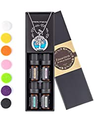 Faurora Essential Oil Necklace Gift Set, Tree of Life Aromatherapy Diffuser Necklace with 4 Aroma Oils (Lavender, Lemongrass, Peppermint and Sweet Orange) 27.6'' Chain