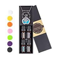 Essential Oil Necklace Gift Set, Tree of Life Aromatherapy Diffuser Necklace with 4 Aroma Oils...
