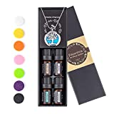 Faurora Essential Oil Necklace Gift Set, Tree of Life Aromatherapy Diffuser Necklace with 4 Aroma Oils (Lavender, Lemongrass, Peppermint and Sweet Orange) 27.6 Inches Chain