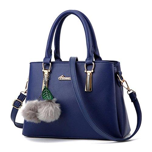 Leather Shoulder Bags Artificial Stylish Messenger With Women Tote Ladies Blue Handbag Pendant Medium Crossbody Purse For Bag KONFA Owz8Stqn8
