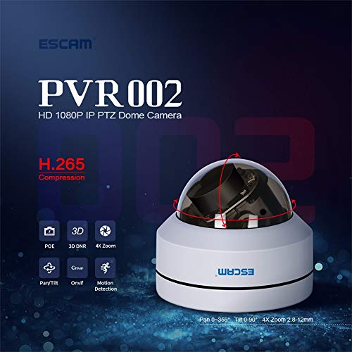 ESCAM PVR002 ESCAM 1080P PTZ 4Xズーム2.8-12mmレンズ防水POEドームIP PVR002 H.265カメラ H.265カメラ B07M8QKGF4, 快眠くらぶ:d6bd2dce --- ero-shop-kupidon.ru