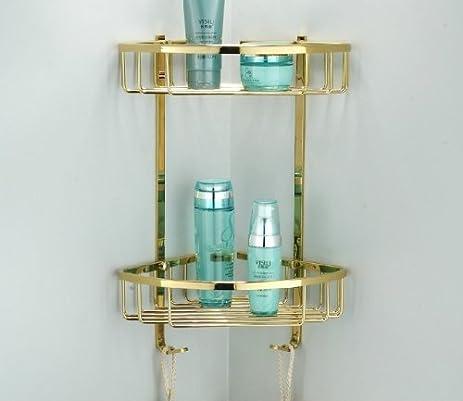 Amazon.com: Greenspring Dual Tier Corner Bracket Brass Bathroom ...