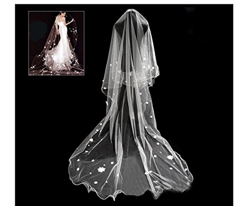 Soft Tulle Wedding Bridal Veil 1 Tier 2.8 Meters Long Cathedral Chapel Floor Veils with Elegant Embroidered Lace Trim for Women Bride(Pearl Flower White - Sash Length Floor
